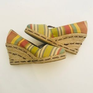 Multicolored MaryJane summer wedge6.5 display shoe